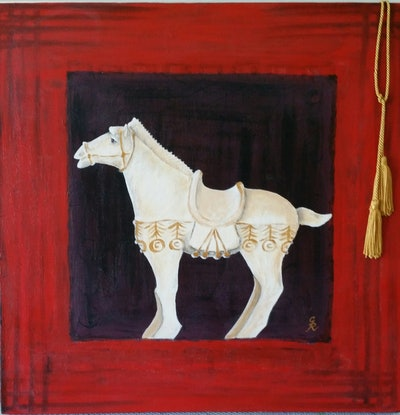 (CreativeWork) The Chinese Horse by Greer Roberts. Acrylic Paint. Shop online at Bluethumb.
