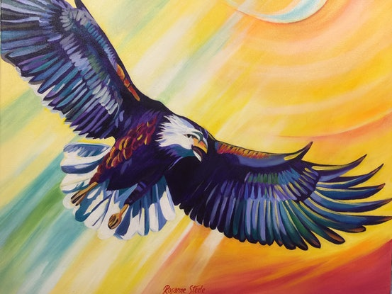 (CreativeWork) GLORY EAGLE by Rosanne Steele. Acrylic Paint. Shop online at Bluethumb.