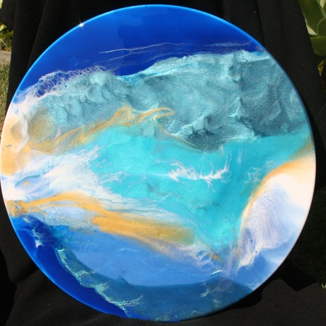 (CreativeWork) beyond blue skies by barbara western. Resin. Shop online at Bluethumb.