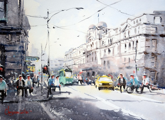 (CreativeWork) Weekday Morning on Spencer Street, Melbourne by Chrysovalantou Mavroudis. Watercolour Paint. Shop online at Bluethumb.