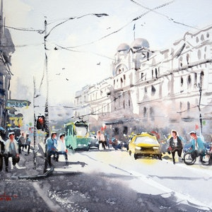(CreativeWork) Weekday Morning on Spencer Street, Melbourne by Chrysovalantou Mavroudis. watercolour. Shop online at Bluethumb.