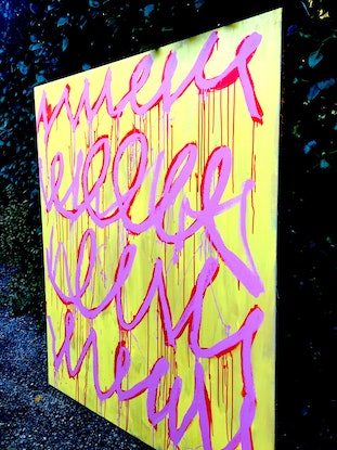 (CreativeWork) Speaking In Tongues 4 by Chalom (Mike Lane). Acrylic Paint. Shop online at Bluethumb.