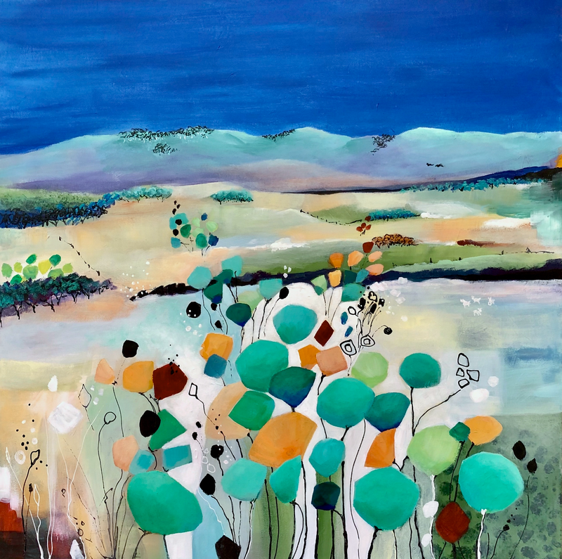 (CreativeWork) Far Horizons Whimsy by Marion Rispin. Acrylic Paint. Shop online at Bluethumb.