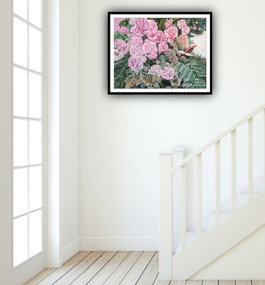 (CreativeWork) A LIFE TIME COMMITMENT - Pink Roses And Anthurium - LIMITED EDITION GICLEE PRINT - A1 Full Size  Ed. 3 of 100 by HSIN LIN. Print. Shop online at Bluethumb.