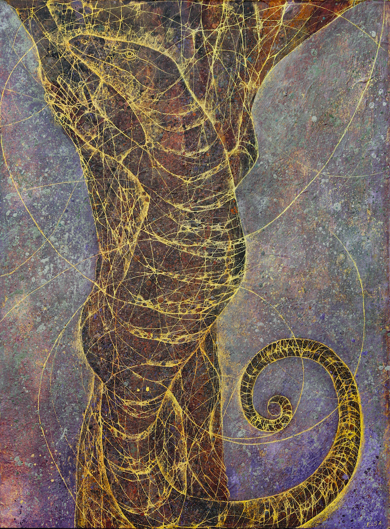 (CreativeWork) Goanna on Tree by Elsa Santos Carrillo. Mixed Media. Shop online at Bluethumb.