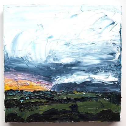 (CreativeWork) Storm In the Valley - Byron Bay Hinterland Landscape- FRAMED IN OAK by Michelle Keighley. Oil Paint. Shop online at Bluethumb.