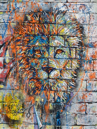 (CreativeWork) Urban Lionscape by Kirsten Button. Oil Paint. Shop online at Bluethumb.