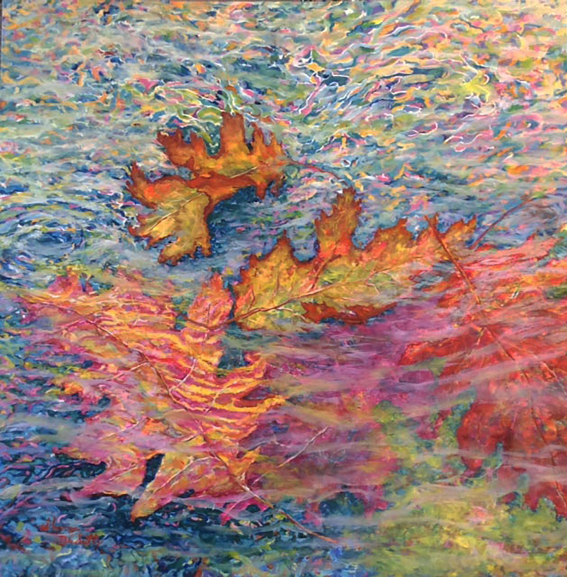 (CreativeWork) Autumn Leaves On The Lake by Sharon DeSailly. Oil Paint. Shop online at Bluethumb.