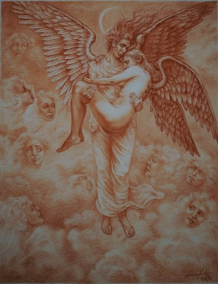 (CreativeWork) Sadness of the Heaven by Imre Zsido. Drawings. Shop online at Bluethumb.