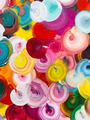 (CreativeWork) Sale Drifting flowers by Sophie Lawrence. Acrylic Paint. Shop online at Bluethumb.
