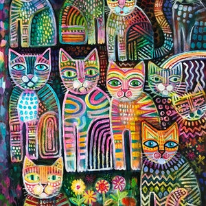 (CreativeWork) Magic Cats  by Karin Zeller. acrylic-painting. Shop online at Bluethumb.