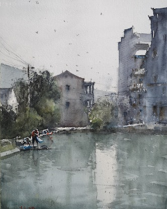 (CreativeWork) JINHUA,CHINA by jianqiang xu. Watercolour Paint. Shop online at Bluethumb.