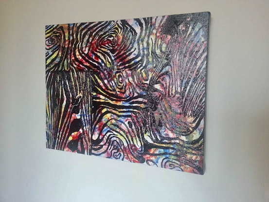 (CreativeWork) 'Camouflaged Zebras' Abstract Acrylic on Canvas!  by Anitha Joseph. Acrylic Paint. Shop online at Bluethumb.