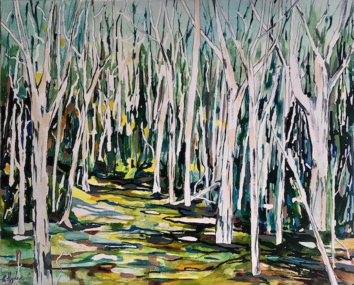 (CreativeWork) Mambo Wetlands by Christine Hyde. Acrylic Paint. Shop online at Bluethumb.