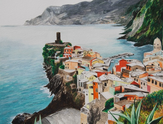 (CreativeWork) AMALFI  by Emma McIntosh. Watercolour Paint. Shop online at Bluethumb.