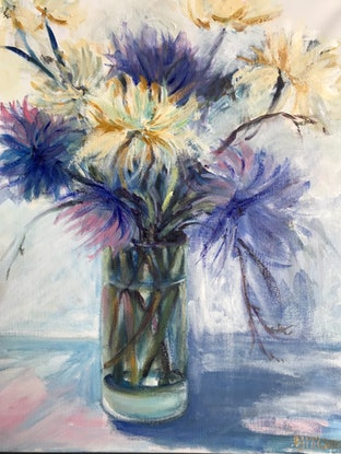 (CreativeWork) Chrysanthemums  by Barbara McGuire. Acrylic Paint. Shop online at Bluethumb.