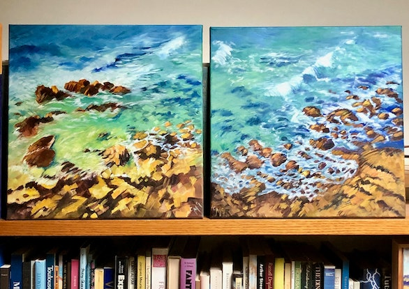 (CreativeWork) Coolum beach lookout I by Carolynne Mcintyre. Oil Paint. Shop online at Bluethumb.