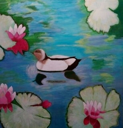 (CreativeWork) Waterlily Pond and Wood Duck by Gwenda Branjerdporn. Acrylic Paint. Shop online at Bluethumb.