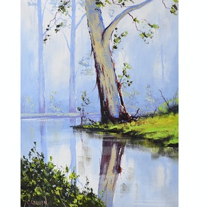 (CreativeWork) Riverside Gum by Graham Gercken. oil-painting. Shop online at Bluethumb.