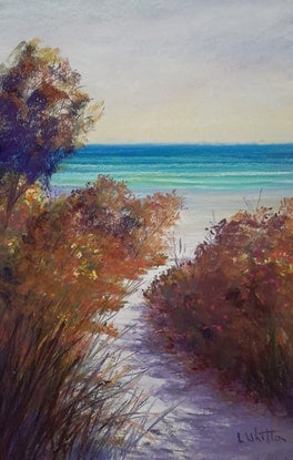 (CreativeWork) Beach Path in the Morning. by Lindy Whitton. Drawings. Shop online at Bluethumb.