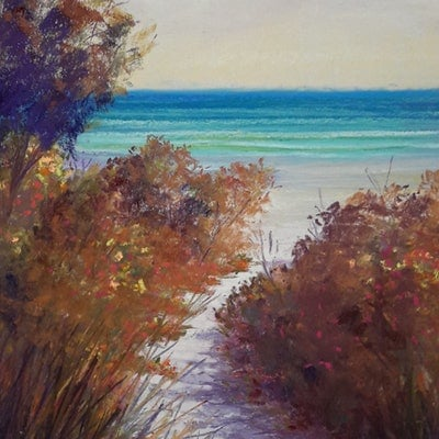 (CreativeWork) Beach Path in the Morning. by Lindy Whitton. drawing. Shop online at Bluethumb.