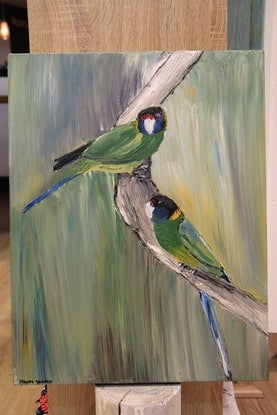 (CreativeWork) Yellow Ringnecks in Eucalyptus by Moody Rabbit. Oil Paint. Shop online at Bluethumb.