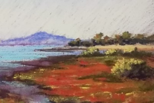 (CreativeWork) Wetlands morning. Seascape by Lindy Whitton. Drawings. Shop online at Bluethumb.