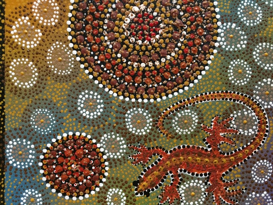 """(CreativeWork) """"Geckos nesting surrounded by their eggs"""" by Renee Clifton. Acrylic Paint. Shop online at Bluethumb."""
