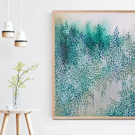 (CreativeWork) Healing Path by The GreenWay (Left) by Leni Kae. Acrylic Paint. Shop online at Bluethumb.