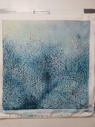 (CreativeWork) Bloom Through Winter Blue (blue abstract landscape) by Leni Kae. Acrylic Paint. Shop online at Bluethumb.