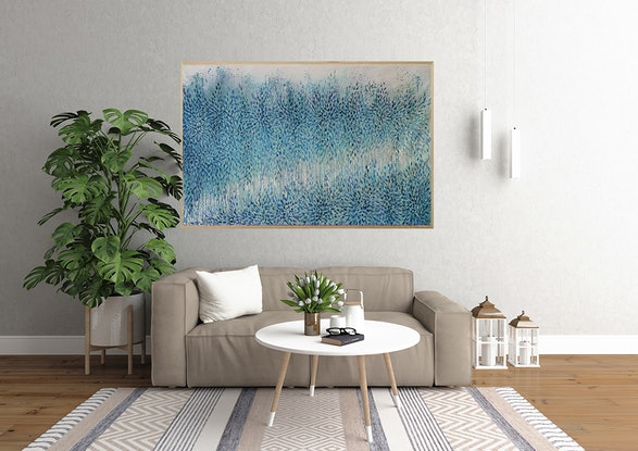 (CreativeWork) Immersion in Blue, Abstract Landscape, Abstract Landscape by Leni Kae. Acrylic Paint. Shop online at Bluethumb.