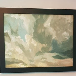 (CreativeWork) Cloudscape, Mount Boyce by Vanessa Whittington. oil-painting. Shop online at Bluethumb.