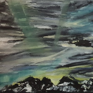 (CreativeWork) Under the northern lights  by Vanessa Whittington. oil-painting. Shop online at Bluethumb.