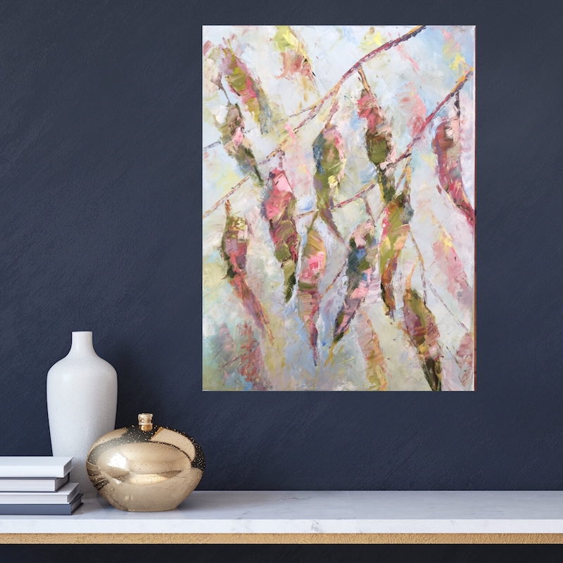 (CreativeWork) Eucalyptus in Blush,  an Autumn Tale by Eve Sellars. Oil Paint. Shop online at Bluethumb.