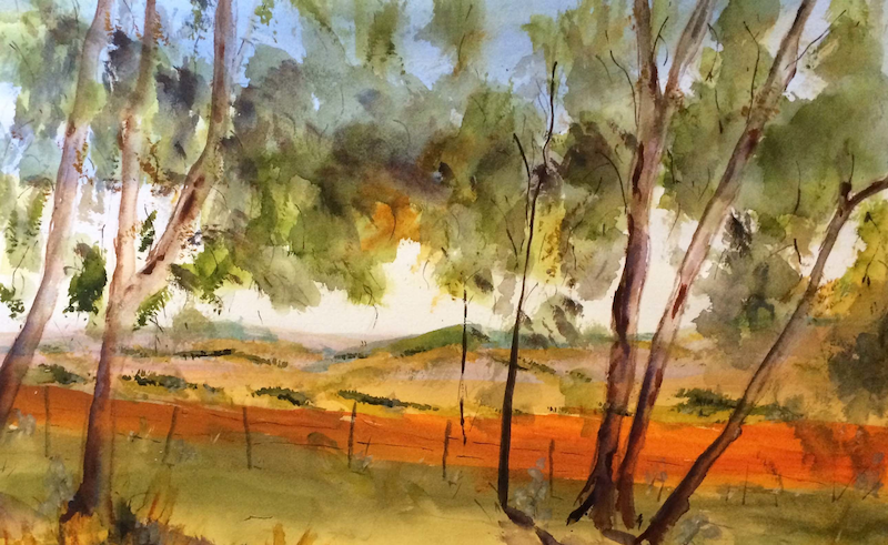 (CreativeWork) View from Hume and Hovell Monument, Kilmore VIC (watercolour on Fabriano) Framed by Margaret Morgan (Watkins). Watercolour Paint. Shop online at Bluethumb.