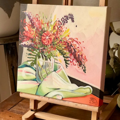 (CreativeWork) Holiday grevillea (unframed) by kirsty mcintyre. Oil Paint. Shop online at Bluethumb.