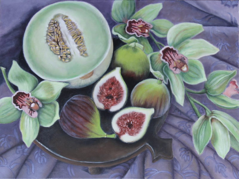 (CreativeWork) Orchids, figs and melon Ed. 1 of 50 by Annabelle Gfeller. Print. Shop online at Bluethumb.