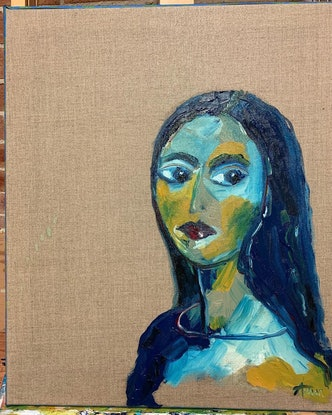 (CreativeWork) Aware girl by Anna Constantine. Oil Paint. Shop online at Bluethumb.