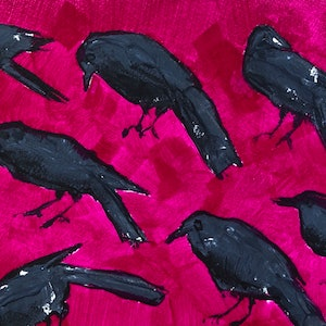 (CreativeWork) Black Crow Magenta  by Kate Gradwell. arcylic-painting. Shop online at Bluethumb.