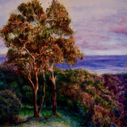(CreativeWork) Late Afternoon at Arthur's Seat by Cathy Yarwood - Mahy. Acrylic Paint. Shop online at Bluethumb.