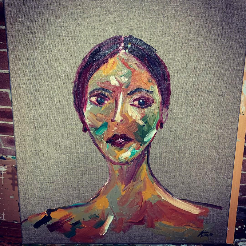 (CreativeWork) All the women  by Anna Constantine. oil-painting. Shop online at Bluethumb.