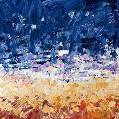 (CreativeWork) Beach Break - FRAMED - Small Abstract Seascape by Angela Hawkey. Acrylic Paint. Shop online at Bluethumb.