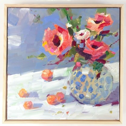 (CreativeWork) Still Life With Chrysanthemum (framed) by Li Zhou. Oil Paint. Shop online at Bluethumb.