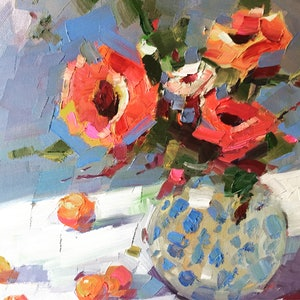 (CreativeWork) Still Life With Chrysanthemum by Li Zhou. oil-painting. Shop online at Bluethumb.