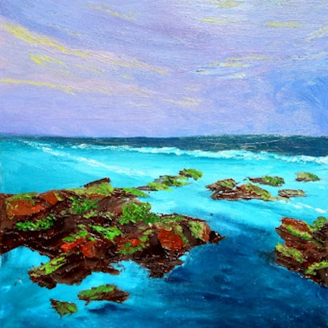 (CreativeWork) Thirteenth Beach at Sunset by Trista Henfling. Oil Paint. Shop online at Bluethumb.