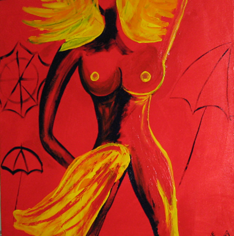 (CreativeWork) Red bather with yellow towel by Lynne ( Dorothy Lynne) Pickering. Acrylic Paint. Shop online at Bluethumb.