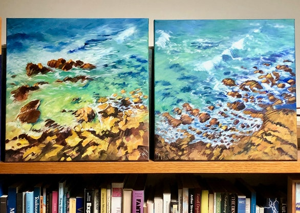 (CreativeWork) Coolum beach lookout II by Carolynne Mcintyre. Oil Paint. Shop online at Bluethumb.