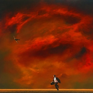 (CreativeWork) The Pursuit by James Robertson. oil-painting. Shop online at Bluethumb.