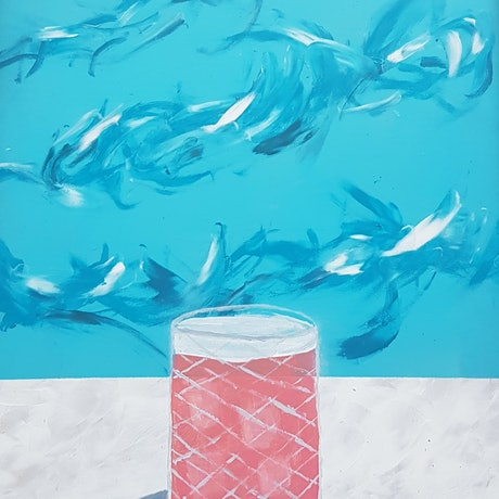 (CreativeWork) Bondi Drinks : Pink-a-Colada by Stella Vu. Acrylic Paint. Shop online at Bluethumb.