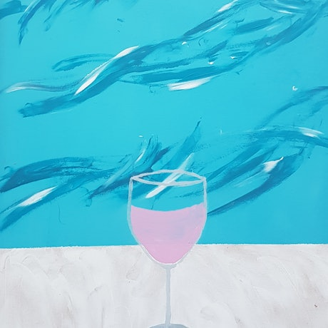 (CreativeWork) Bondi Drinks : Rose by Stella Vu. Acrylic Paint. Shop online at Bluethumb.